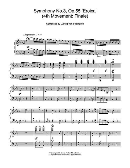 Download Ludwig van Beethoven 'Symphony No.3 (Eroica), 4th Movement: Finale' Digital Sheet Music Notes & Chords and start playing in minutes
