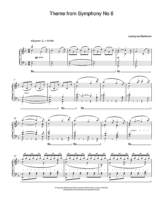 Ludwig van Beethoven Symphony No.6 (Pastoral), 5th Movement sheet music notes and chords