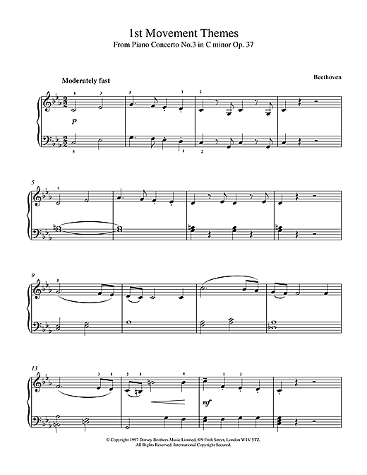 Ludwig van Beethoven Symphony No.6 In F Major (Pastoral), 1st Movement Themes sheet music notes and chords