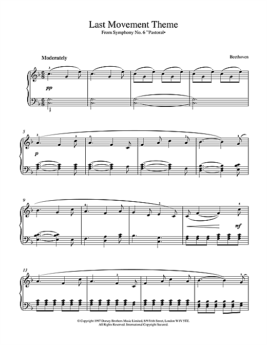 Download Ludwig van Beethoven 'Symphony No.6 In F Major (Pastoral), 5th Movement' Digital Sheet Music Notes & Chords and start playing in minutes