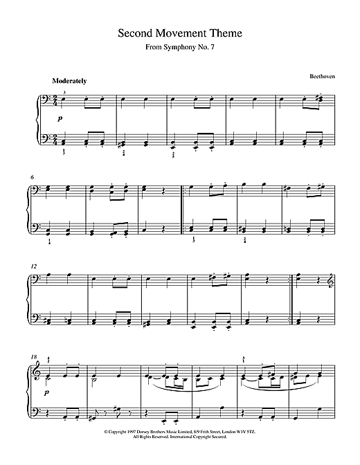 Download Ludwig van Beethoven 'Symphony No.7, 2nd Movement Theme' Digital Sheet Music Notes & Chords and start playing in minutes