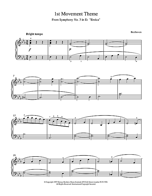 Download Ludwig van Beethoven 'Theme from Symphony No. 3 (Eroica), 1st Movement' Digital Sheet Music Notes & Chords and start playing in minutes