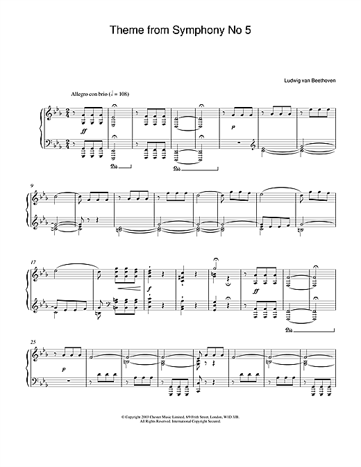 Ludwig van Beethoven Theme from Symphony No. 5, Op. 67 (1st Movement) sheet music notes and chords