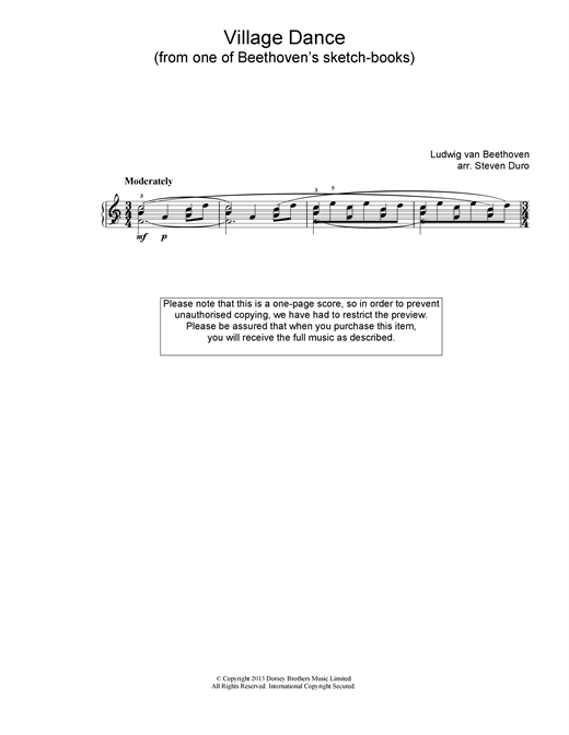 Ludwig van Beethoven Village Dance sheet music notes and chords