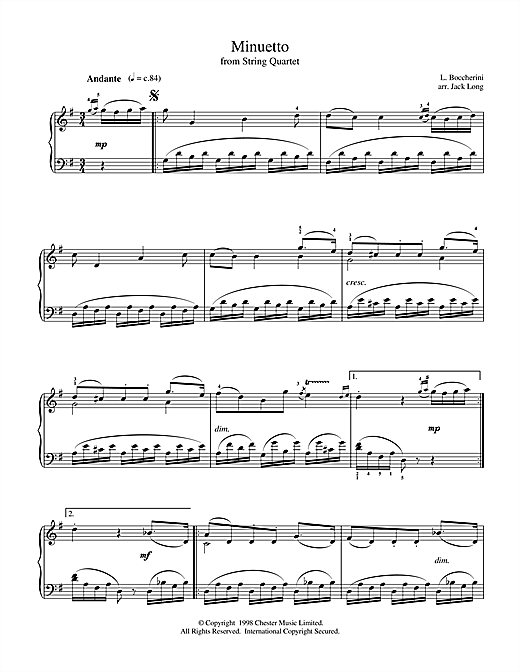 Luigi Boccherini Minuet (from String Quintet in E Major, Op.11 No.5) sheet music notes and chords