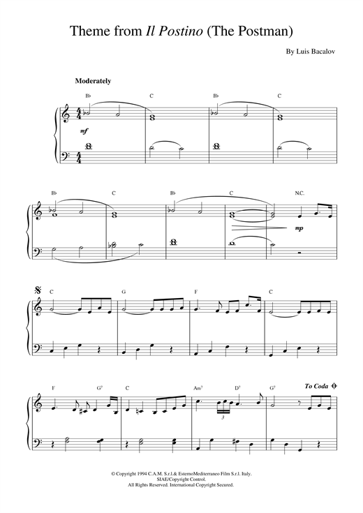 Download Luis Bacalov 'Il Postino (from The Postman)' Digital Sheet Music Notes & Chords and start playing in minutes
