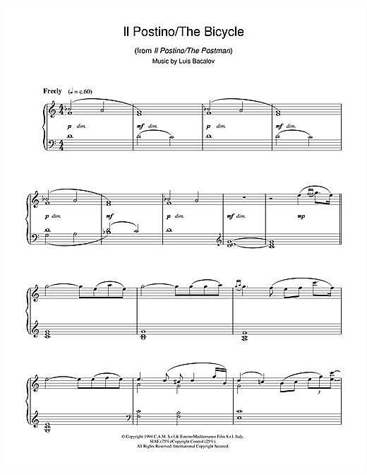 Download Luis Bacalov 'Il Postino/The Bicycle (from Il Postino/The Postman)' Digital Sheet Music Notes & Chords and start playing in minutes