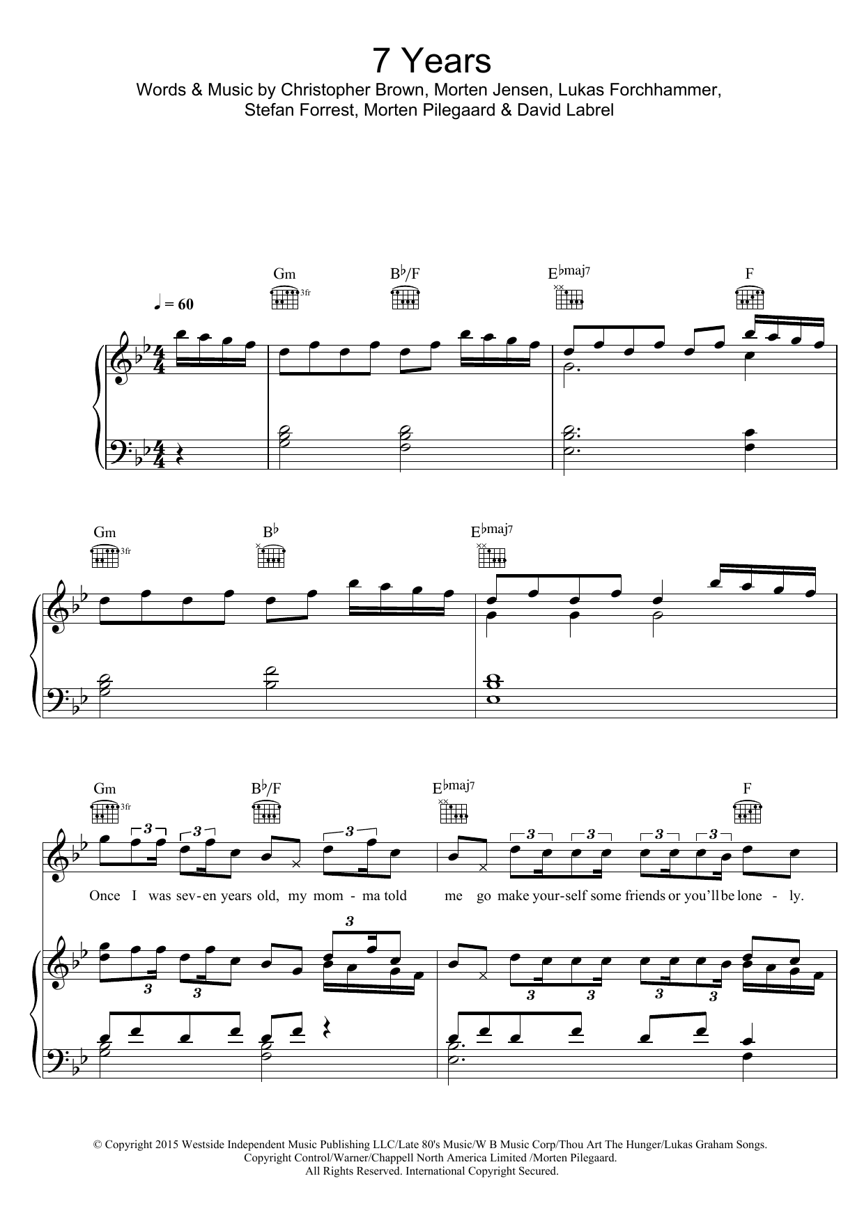 Lukas Graham 7 Years sheet music preview music notes and score for Piano, Vocal & Guitar (Right-Hand Melody) including 9 page(s)