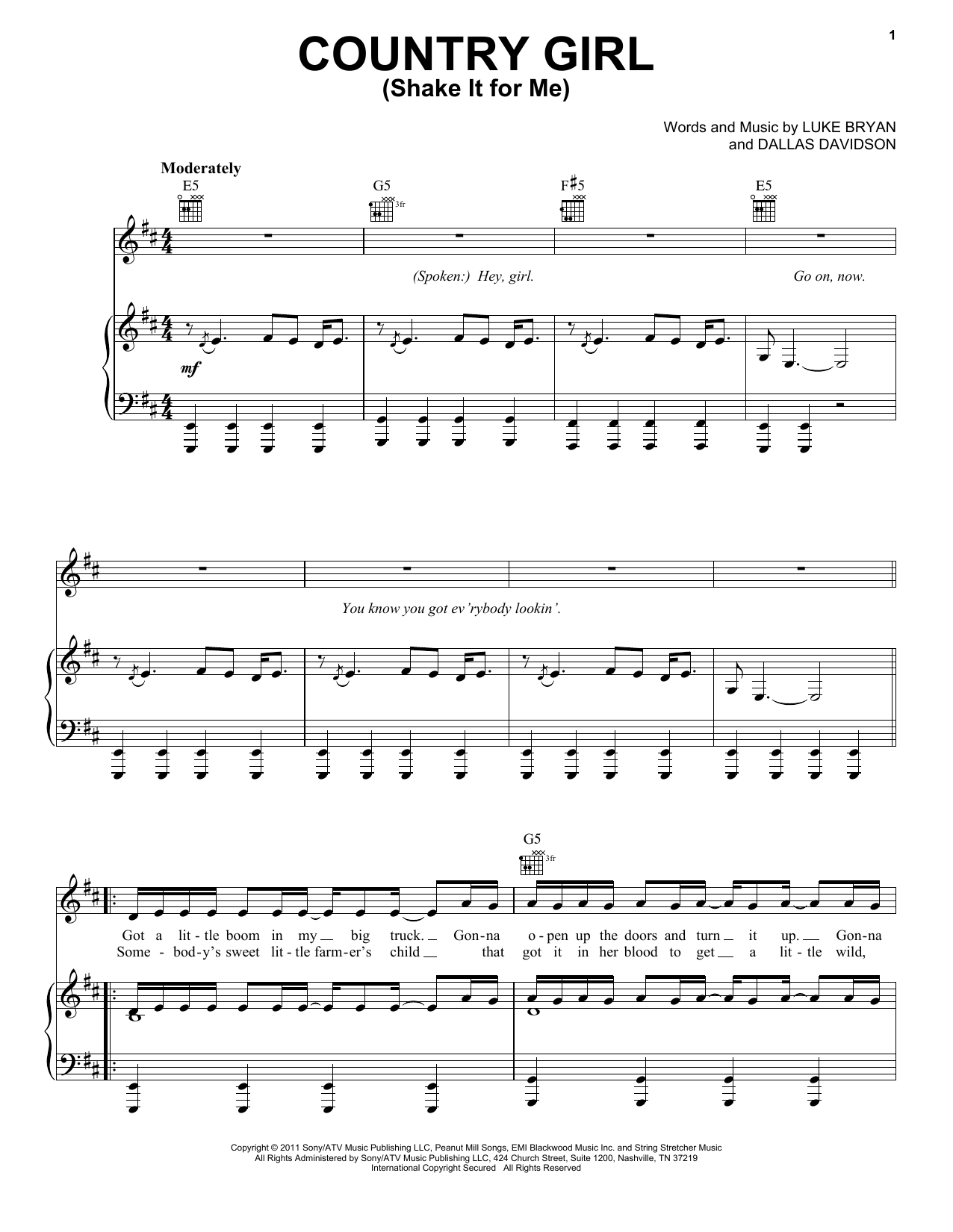 Luke Bryan Country Girl (Shake It For Me) sheet music preview music notes and score for Drums Transcription including 2 page(s)