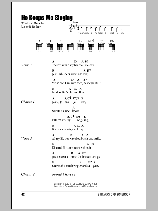 Luther B. Bridgers He Keeps Me Singing sheet music preview music notes and score for Ukulele including 2 page(s)