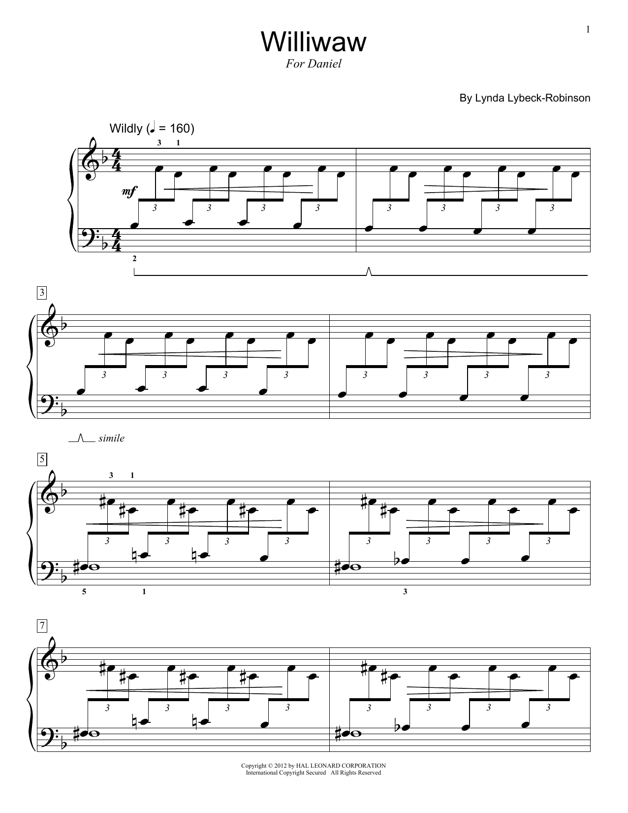 Lynda Lybeck-Robinson Williwaw sheet music preview music notes and score for Piano including 5 page(s)