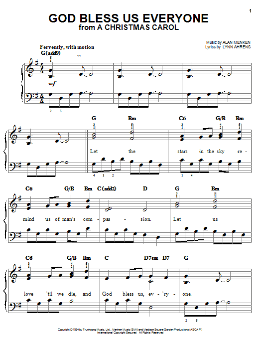 Lynn Ahrens God Bless Us Everyone (from A Christmas Carol) sheet music notes and chords