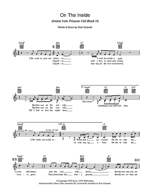 Lynne Hamilton On The Inside sheet music preview music notes and score for Melody Line, Lyrics & Chords including 2 page(s)