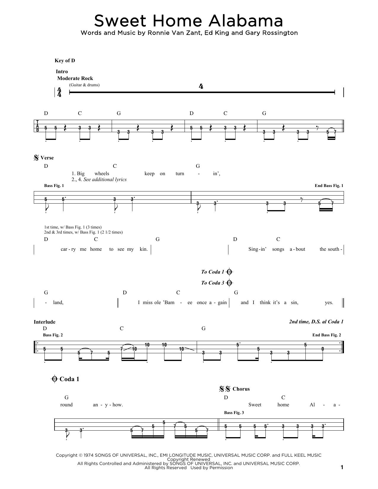 Lynyrd Skynyrd Sweet Home Alabama sheet music notes and chords