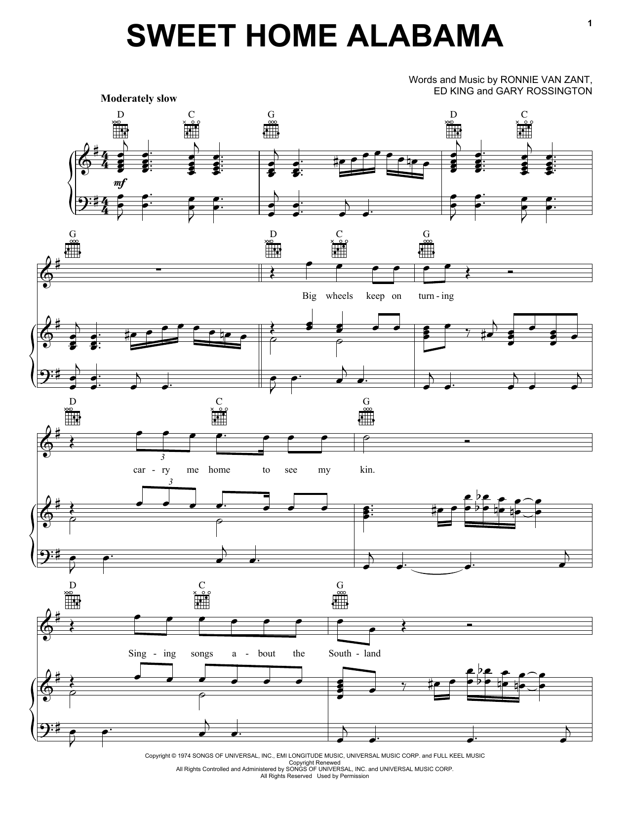 Lynyrd Skynyrd Sweet Home Alabama sheet music preview music notes and score for Guitar Tab including 7 page(s)