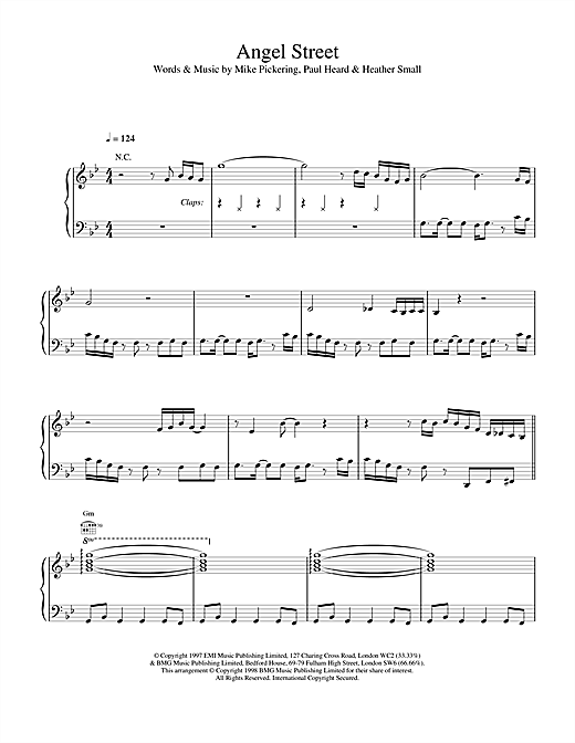 M People Angel Street sheet music notes and chords