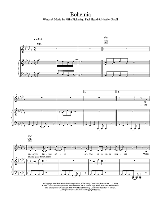 M People Bohemia sheet music notes and chords