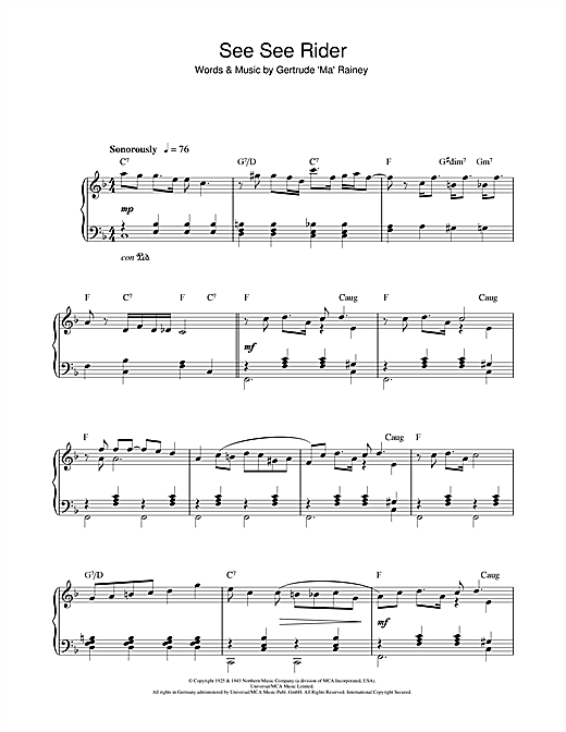 Download Ma Rainey 'See See Rider' Digital Sheet Music Notes & Chords and start playing in minutes
