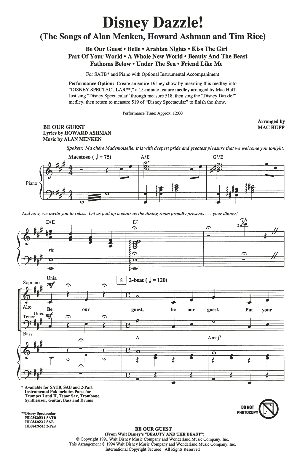 Download Mac Huff 'Disney Dazzle! (The Songs of Alan Menken, Howard Ashman and Tim Rice) (Medley)' Digital Sheet Music Notes & Chords and start playing in minutes