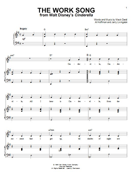 Mack David The Work Song (from Cinderella) sheet music notes and chords
