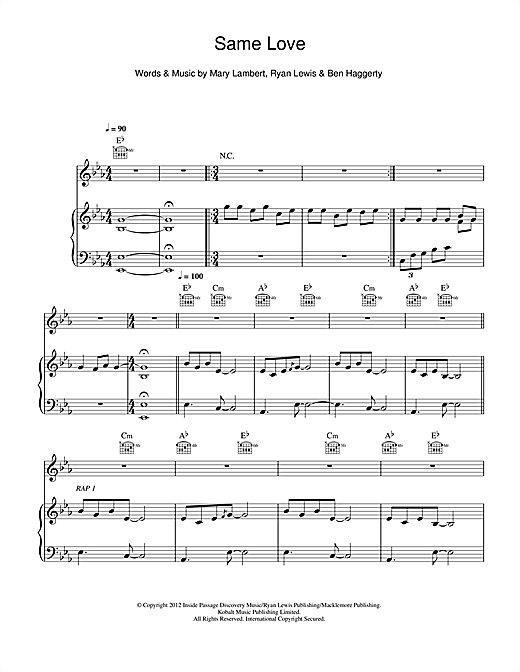 Download Macklemore & Ryan Lewis 'Same Love' Digital Sheet Music Notes & Chords and start playing in minutes