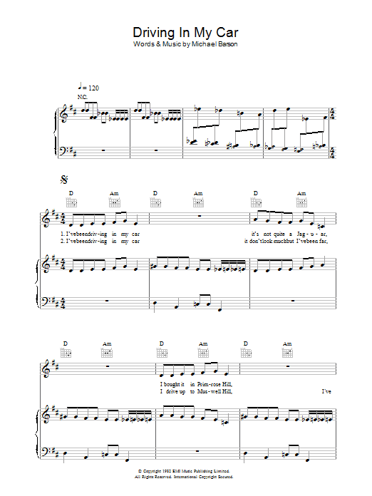 Madness Driving In My Car sheet music preview music notes and score for Piano, Vocal & Guitar (Right-Hand Melody) including 7 page(s)