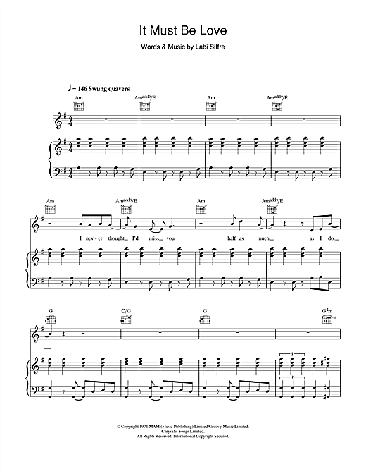 Madness It Must Be Love sheet music notes and chords
