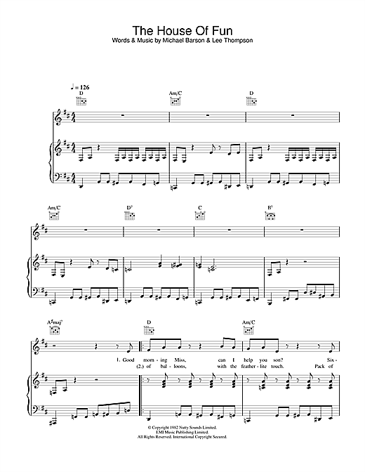 Madness The House Of Fun sheet music notes and chords