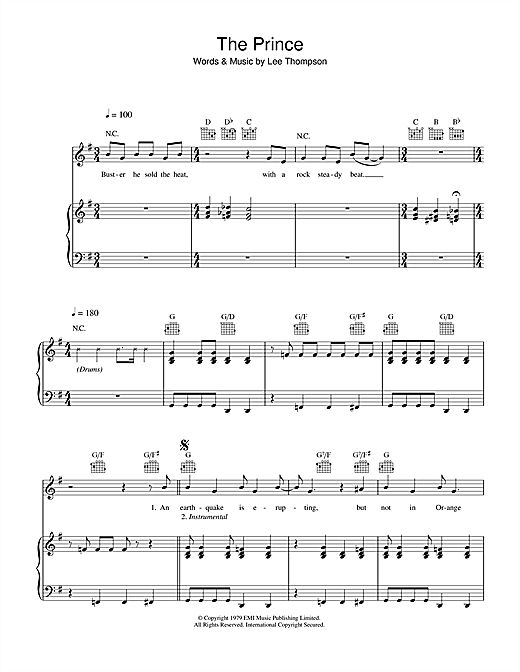 Download Madness 'The Prince' Digital Sheet Music Notes & Chords and start playing in minutes
