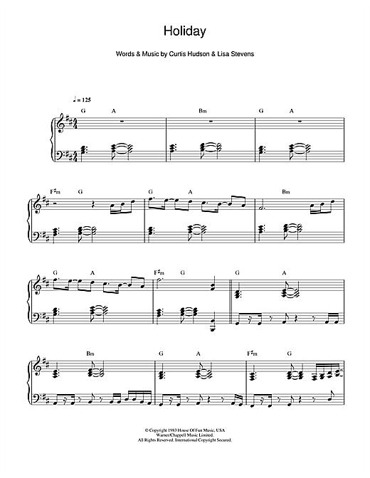 Madonna Holiday sheet music notes and chords