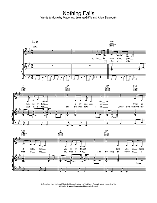 Madonna Nothing Fails sheet music notes and chords