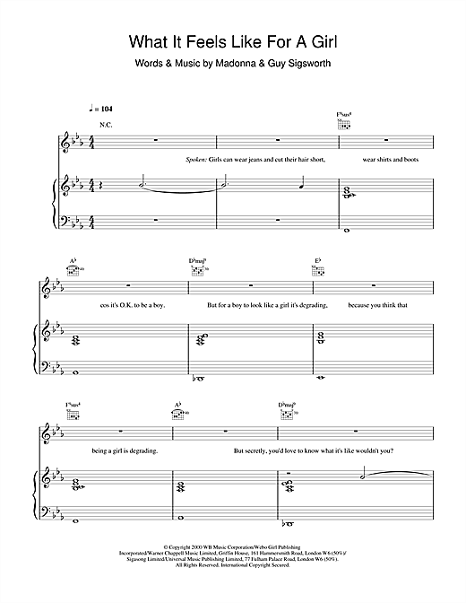 Madonna What It Feels Like For A Girl sheet music notes and chords