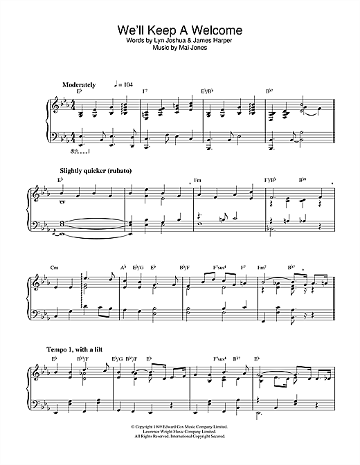 Download Mai Jones 'We'll Keep A Welcome' Digital Sheet Music Notes & Chords and start playing in minutes