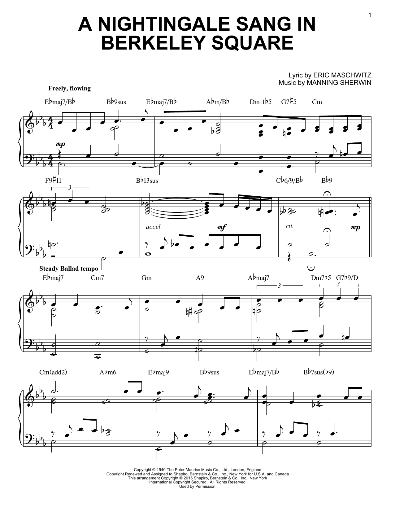 The Manhattan Transfer A Nightingale Sang In Berkeley Square sheet music notes and chords