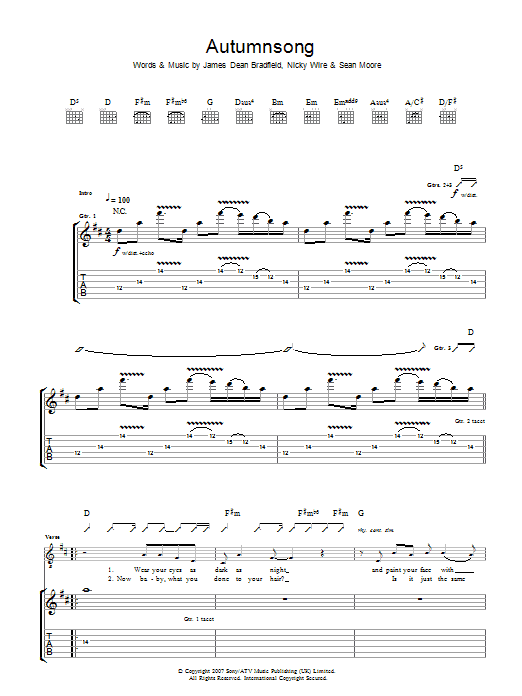 Manic Street Preachers Autumnsong sheet music preview music notes and score for Guitar Tab including 7 page(s)