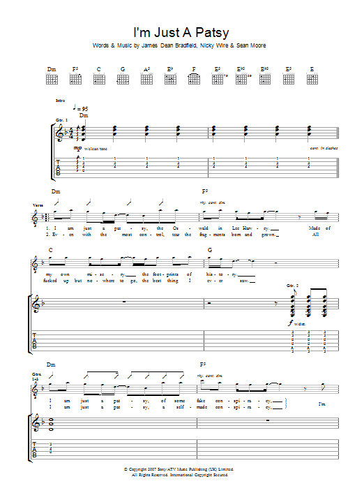 Manic Street Preachers I'm Just A Patsy sheet music preview music notes and score for Guitar Tab including 5 page(s)