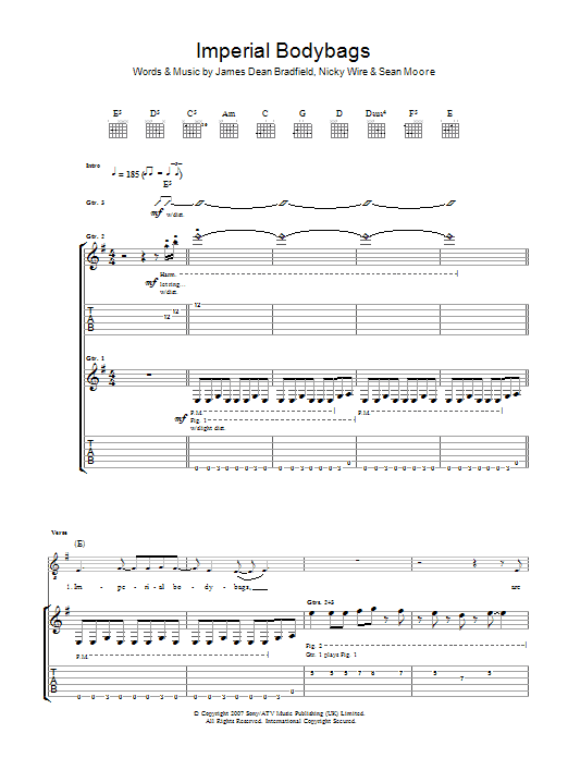 Manic Street Preachers Imperial Bodybags sheet music preview music notes and score for Guitar Tab including 7 page(s)