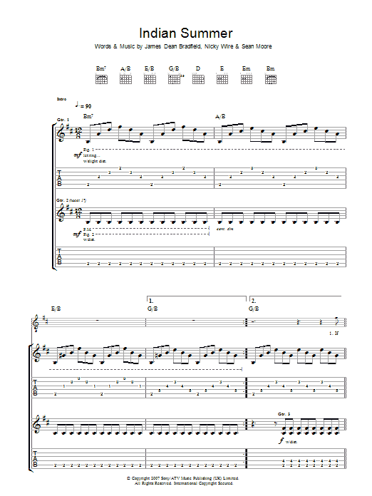 Manic Street Preachers Indian Summer sheet music preview music notes and score for Guitar Tab including 7 page(s)