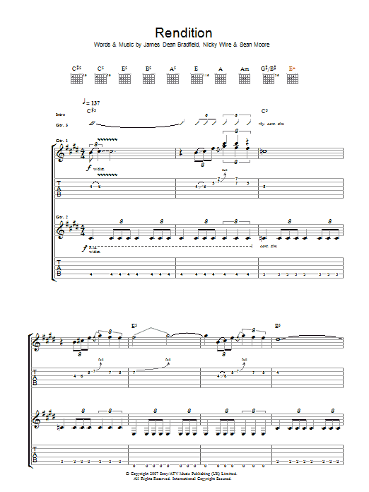 Manic Street Preachers Rendition sheet music preview music notes and score for Guitar Tab including 7 page(s)