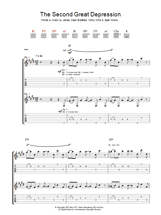 Manic Street Preachers The Second Great Depression sheet music preview music notes and score for Guitar Tab including 4 page(s)