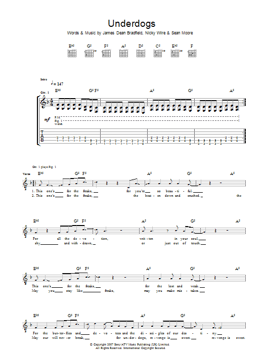 Manic Street Preachers Underdogs sheet music preview music notes and score for Guitar Tab including 4 page(s)