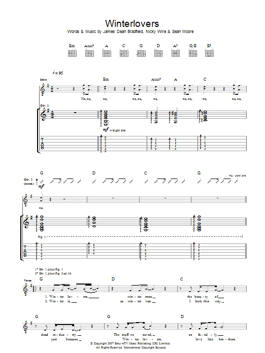 Manic Street Preachers Winterlovers sheet music preview music notes and score for Guitar Tab including 4 page(s)