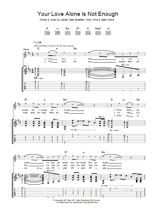 Manic Street Preachers Your Love Alone Is Not Enough sheet music preview music notes and score for Guitar Tab including 5 page(s)