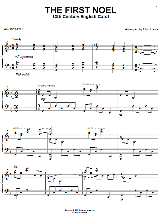 Mannheim Steamroller The First Noel sheet music preview music notes and score for Piano including 4 page(s)