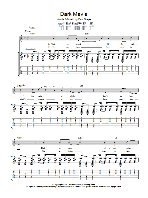Mansun Dark Mavis sheet music preview music notes and score for Guitar Tab including 8 page(s)