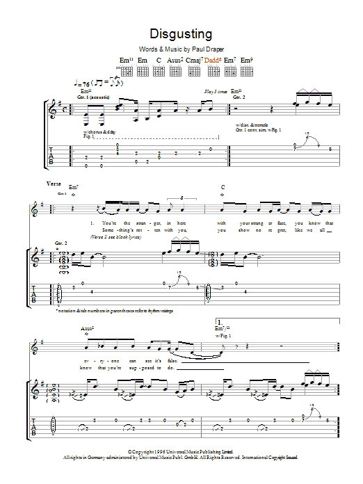 Mansun Disgusting sheet music preview music notes and score for Guitar Tab including 6 page(s)