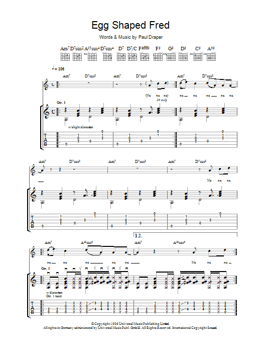Mansun Egg Shaped Fred sheet music preview music notes and score for Guitar Tab including 10 page(s)