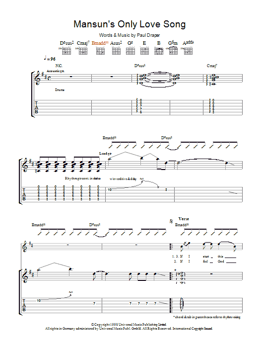 Mansun Mansun's Only Love Song sheet music preview music notes and score for Guitar Tab including 7 page(s)
