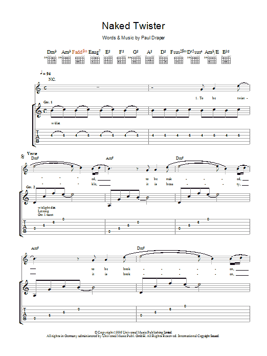 Mansun Naked Twister sheet music preview music notes and score for Guitar Tab including 5 page(s)