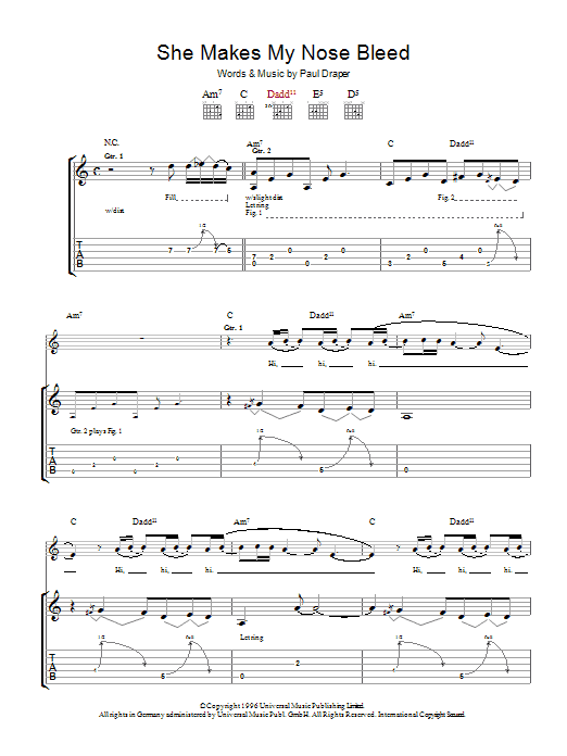 Mansun She Makes My Nose Bleed sheet music preview music notes and score for Guitar Tab including 7 page(s)